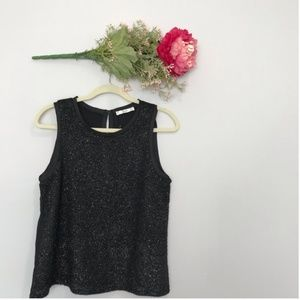 MNG | Sparkly Blouse Tank Top w/ Key Hole Back